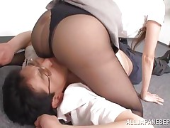 Risa has an respectable business going on but she has a big lack of respect for her employees. As an example check this out, one of her workers disobeys so she grabs him by the face and puts him to lay on the floor. Risa doesn't even takes off her pantyhose and positions herself on the guy's face to get cunt licked