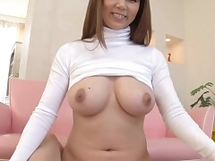 Horny Oriental with large merry tits thrills with juicy oral job